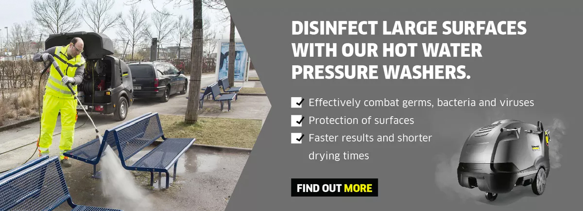 Disinfection with hot water high pressure cleaners